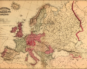 Poster, Many Sizes Available; Topographical Map Of Europe 1871