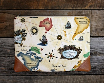 World Map Clutch / Travel bag