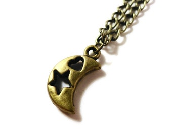 Crescent Moon Necklace, Bronze Moon Necklace, Celestial Jewelry, Metal Charm Necklace, Pendant Necklace, Women's Jewelry, Teen Jewellery