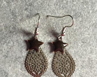mirror silver filigree earrings