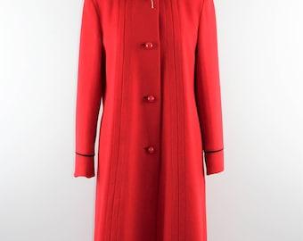 Vintage 1970's Long Red Wool Coat