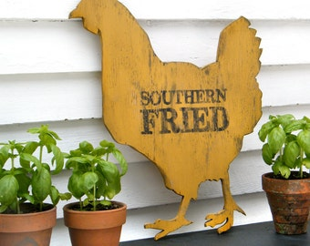 Chicken Sign Southern Fried Chicken Wooden Roadside Sign Hen Farmhouse Kitchen Wall Decor Wooden Sign Restaurant  Sign Vintage Inspired