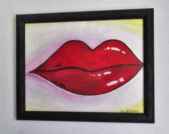 """Pin-up Lips  -  12"""" x 9"""" Framed Watercolor"""