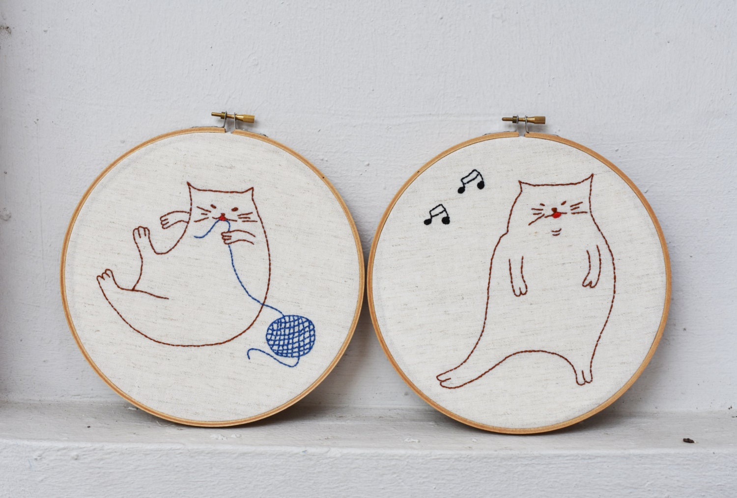 Fat Cats embroidery template | PDF embroidery pattern | hand ...