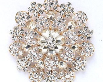 Large Gold Rhinestone Brooch Bridal Jewelry 3.75 inch Round Gold Broach Dress Sash Wedding Cake Brooch DIY Jewelry Crafts Big Gold Broaches