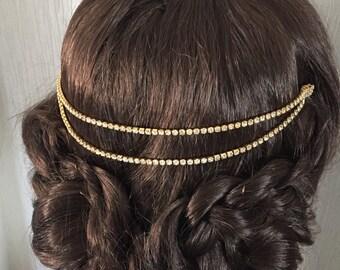Gold hair chain - bridal hair chain - bridal hair accessories - wedding hair - Hair chain - Boho head chain - Hair accessory - Bridal hair