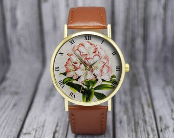 Vintage Style Rhododendron Flower Watch | Floral Watch | Botanical | Leather Watch | Women's Watch | Birthday | Wedding | Gift Ideas