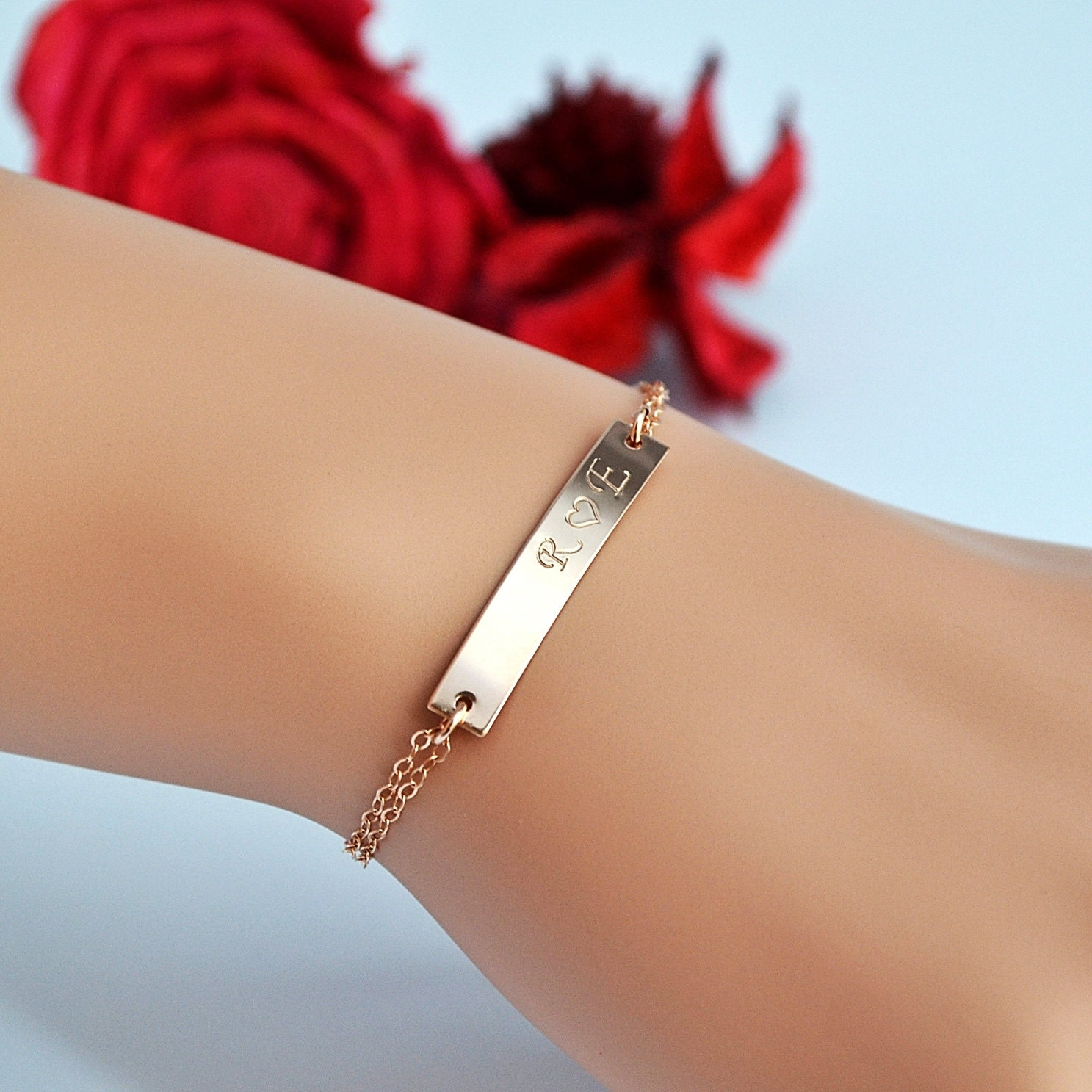 bar bracelet solid gold products simple yellow engraved id edited name personalized hoardjewelry