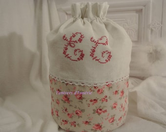 Monogram and romantic fabric pouch