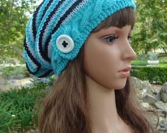 DIY - Knitting PATTERN #176: Cable Band Striped Slouchy, Knit Slouchy Pattern, Knit Hat Pattern - Instant Download PDF Digital Pattern
