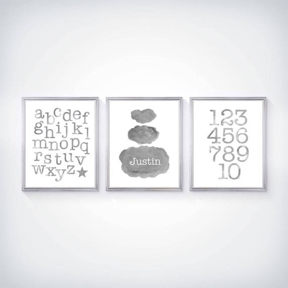 Prints for Boys Room, Set of 3 - 8x10 Prints, with Personalized Cloud and ABC, 123