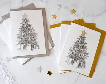 6 Pack Glitter Hand Drawn Christmas Tree Cards