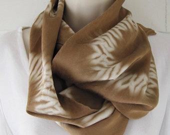 """Hand-dyed, black walnut, silk charmeuse 19.5 mm scarf, karamatsu shibori 10"""" x 58"""""""