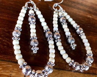 Handmade large hoop statement earrings in white turquoise and tibetan silver beads