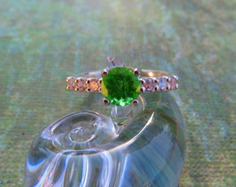 Tsavorite Garnet Ring - Sparkly Intense Green Tsavorite Garnet & Sterling Silver Ring - Beautiful Woman's Ring Size 8