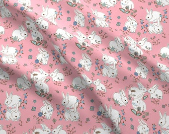 Rabbit Fabric - White Bunnies With Pink By Designed By Debby - Rabbit Pink Easter Spring Cotton Fabric By The Yard With Spoonflower