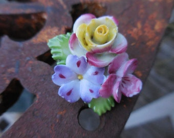 Vintage 1950s to 1960s Porcelain Flower Pin/Brooch Pink/Purple/Yellow/Green Leaves Made in Japan Small Not Perfect