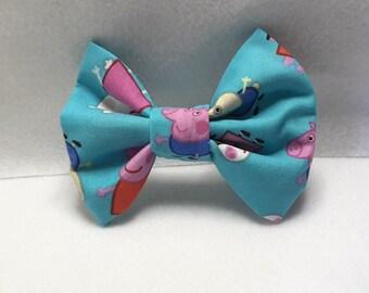 peppa pig hair bows, peppa hair accesories,fabric hair bows
