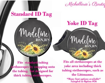 Personalized Stethoscope ID tag, Sunflower Watercolor Stethoscope Id Tag, Stethoscope Name Id tag,Stethoscope Name Tag, MB419