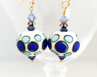 Blue Lampwork Glass Earrings - Polka Dot Earrings - Blue White Earrings - Blue Polka Dot Earrings - Blue Earrings - Blue Glass Earrings