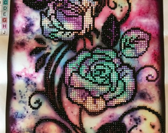 Finished Diamond Painting, Tie Dye Roses, Partial Mosaic, Round Rhinestones on Canvas