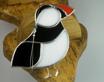 Stained glass Puffin Suncatcher, window ornament & Christmas Decoration