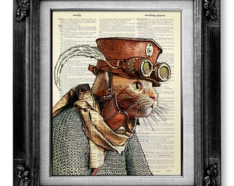 STEAMPUNK ART PRINT, Steampunk Cat Decor, Steampunk Decor, Cat Art Print on Dictionary Paper, Cat Wall Art Poster Artwork, Cool Cat Clothes