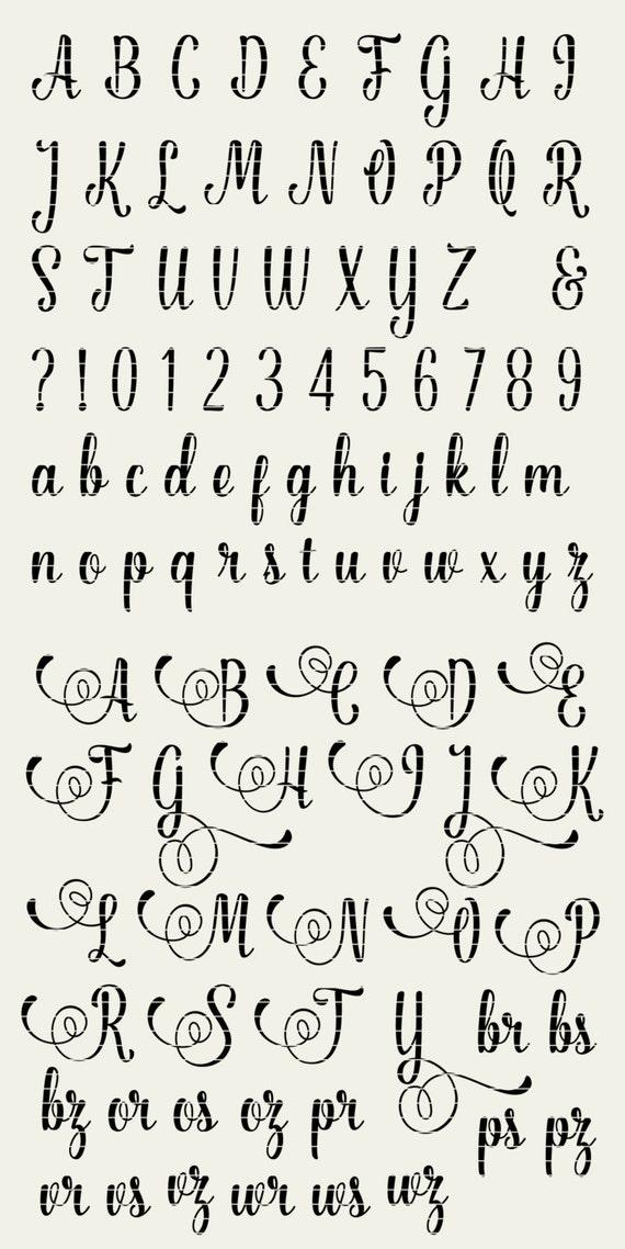 Download Full Alphabet SVG Fonts Cutfile - Fancy Script cricut font ...