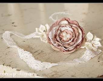 THE CHARISSE--Beige/Dusty Rose Lace & Satin Flower Headband