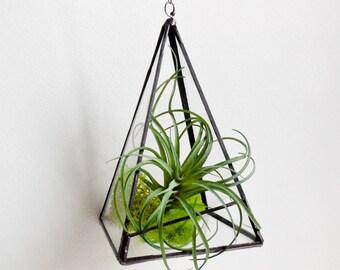 Pyramid Terrarium. Terrarium. Stained Glass Geometric Plant Holder. Glass Terrarium. Plant holder With chain.Ready to Ship.