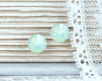 Green Opal Studs Crystal Stud Earrings Green Crystal Studs Rhinestone Studs Surgical Steel Studs Green Opal Jewelry