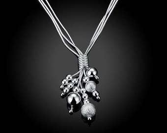 """Solid Silver """"Lucky Beads"""" Necklace"""