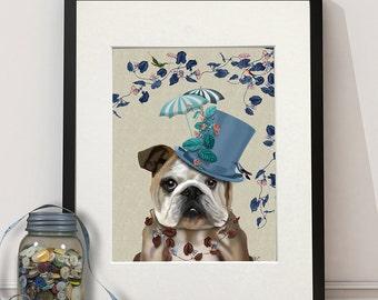 English Bulldog Print - Milliners Dog -  English Bulldog art Print English Bulldog painting English Bulldog decor dog lover gift girlfriend
