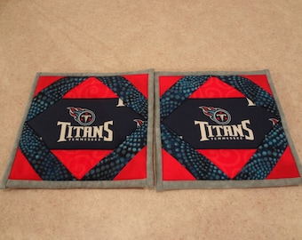 Tennessee Titans- quilted potholders- pair