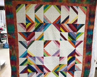 Rainbow finished quilt