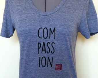 Compassion T Shirt Womens Slim Fit Athletic Grey Sizes Small through XLarge