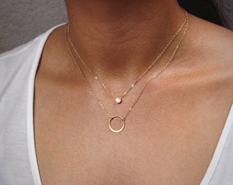 Cz Diamond Layering Necklace, Delicate Circle Necklace, Silver or Gold Karma Necklace / Thin Gold Chain Necklace, Layered Necklace Set