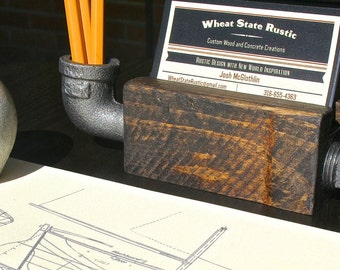 Reclaimed Business Card Holder With Side Iron Pipe Pen Holder for Office or Desk - Industrial