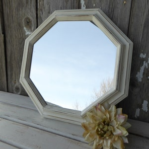 Hand Painted Wood Octagon Shaped Wall Mirror ~ Distressed Creamy White ~  Shabby Chic ~ Rustic