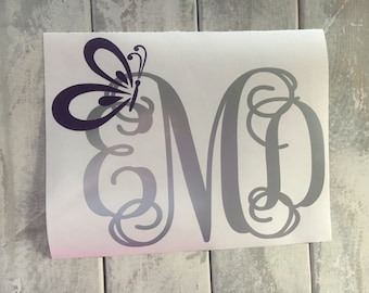 Monogram Car Decal Butterfly Car Decal Car Monogram Decal Car Window Decal Butterfly Decal Car Window Sticker Laptop Decal