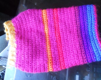 Dog Sweater - Magenta and Bright Stripes, small - med