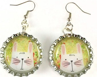 Rabbit Earrings, Easter Earrings, Rabbit Jewelry, Animal Jewelry, Nature Jewelry, Animal Lover, Bottle Cap Earrings, Gift for Her