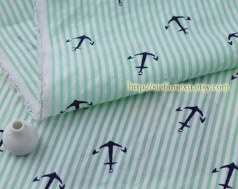 SALE Clearance Nautical Marine Navy Blue Anchors On Spring Green Stripes-Japanese Cotton Bubble Fabric(LAST Piece, 0.87 Yard, 31x51 Inches)