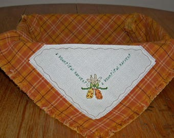 Bountiful Harvest Bread Cloth/Basket Liner in Counted Cross Stitch