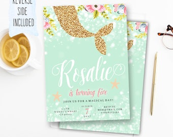 Mermaid Invitation, Printable Mermaid Invite, Floral Mermaid, Glitter Mermaid, Mint pink gold, girls birthday invite, sparkle glitter