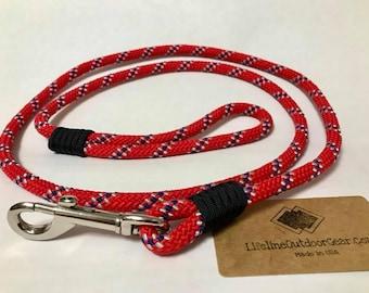 Dog Leash 5'- rope - handmade in USA - red