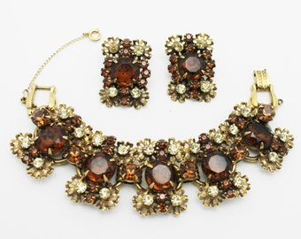 Juliana Jewelry Bracelet Five Links with Earrings Cinnamon Color Glass