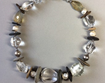 Lake Michigan beach stone necklace with freshwater pearls