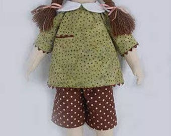 """RC601E – """"Girlie Girl Gracie"""" 18"""" Cloth Doll Sewing Pattern – PDF Download Doll Making Pattern"""