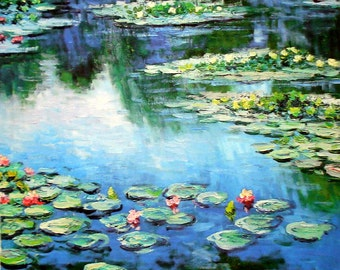 Monet Water Lilies Ready to Hang Painting Print Reduxed to Canvas Museum Quality